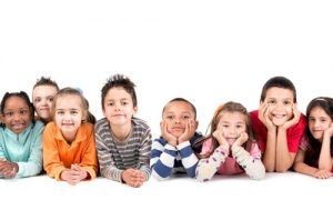 kindergarten aged children against white background