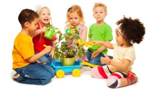 Preschool aged children playing with a plant