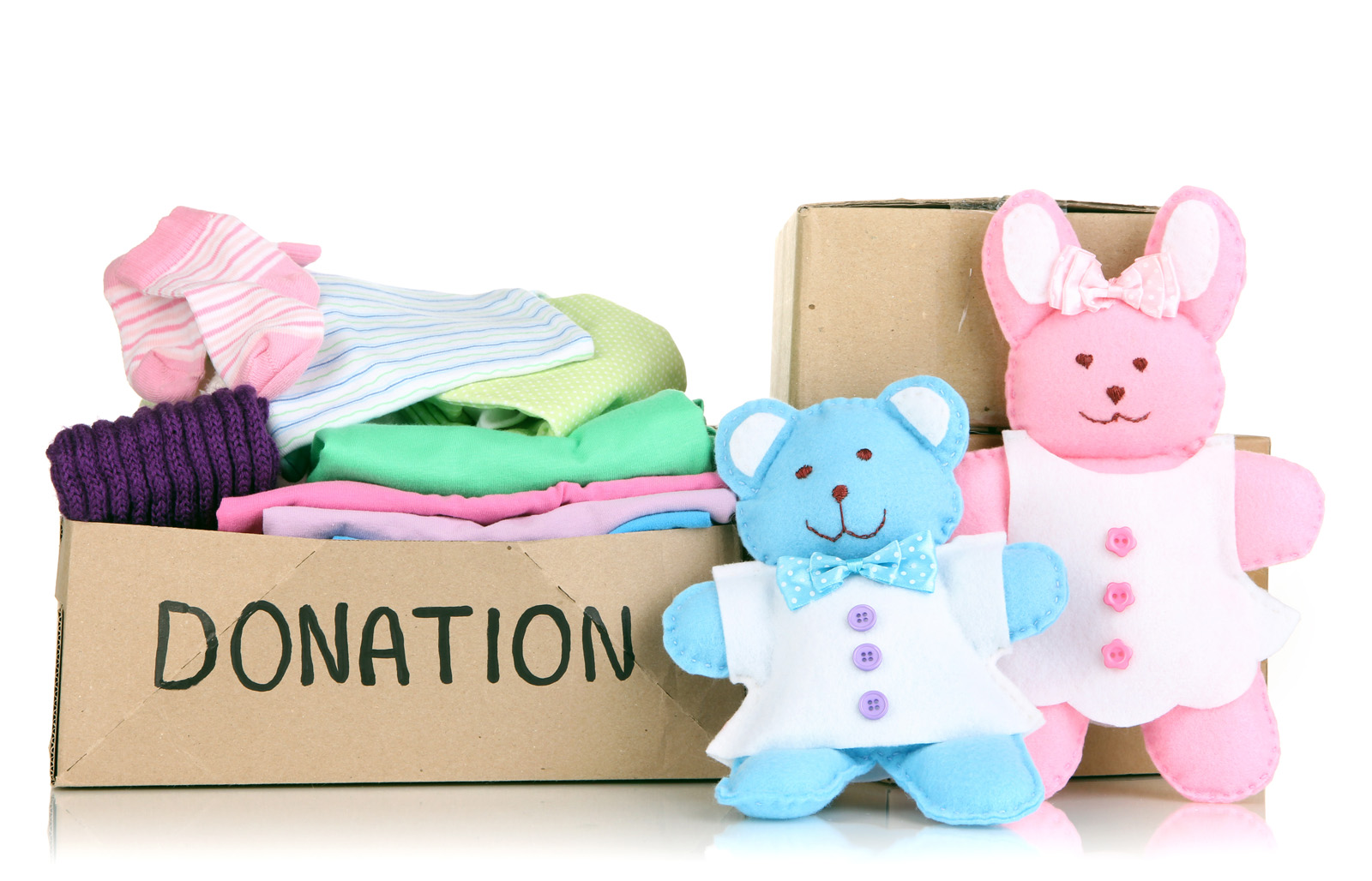 Box with donations for kids